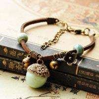Vintage Bracelet - 2015 2016 HOT FASHION Acorn Cute Ceramic Jewelry Bohemian Vintage Ethnic Bangle Bracelet #1786174