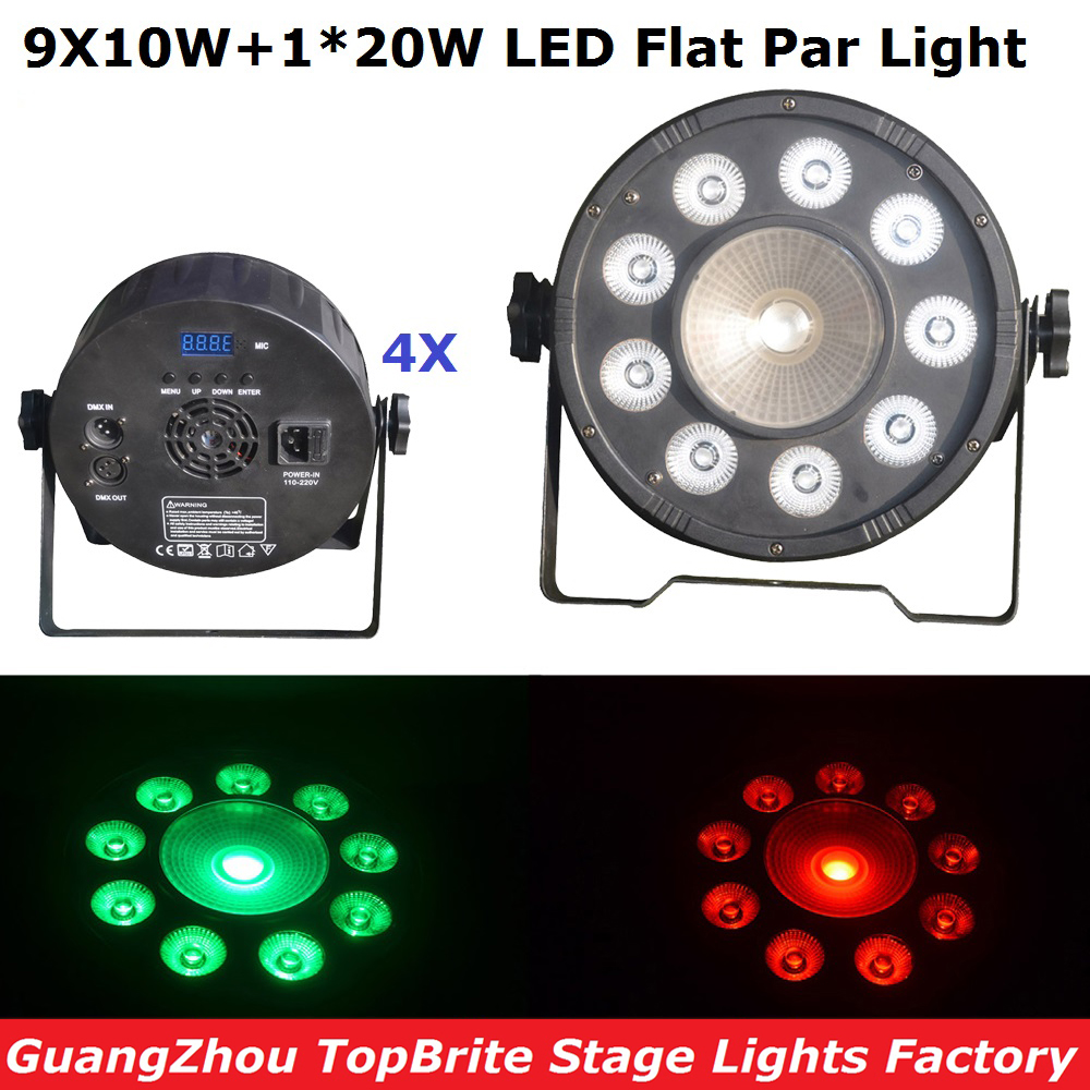 Good Quality 4Pcs 9X10W+1X20W RGBW 4IN1 Led Flat Par Cans 120W High Power Stage Par Light Professional Stage Dj Disco Lights stackable 4in1 flightcase pack 350w big bee eye led par light zoom rotation colorful stage par cans plastic cover lcd display