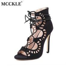 Mcckle/Модные сандалии-гладиаторы женские сандалии на шнуровке пикантные туфли на выход Плюс полые вырезы Высокий каблук с открытым носком женские туфли-лодочки