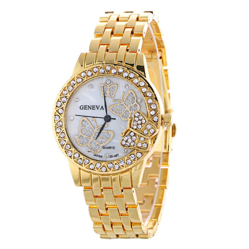 Luxury Jewelry Watch Women Fashion Rhinestone Plated Butterf