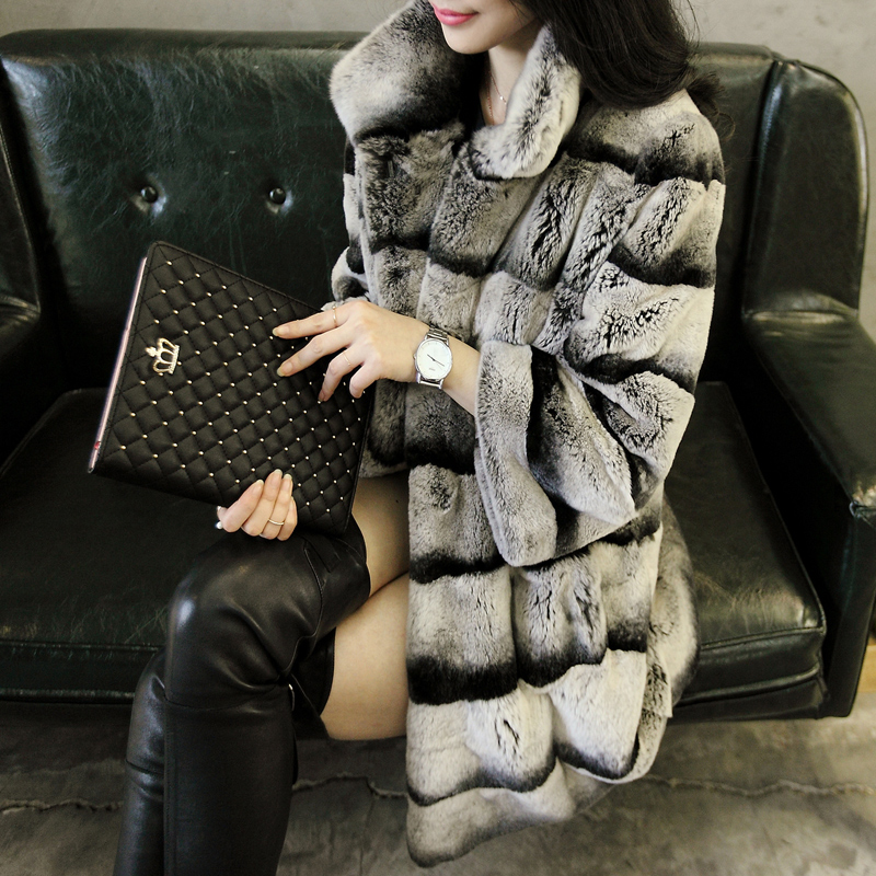 2015 женщин реальный шиншилла окрашенные рекс кролика пальто