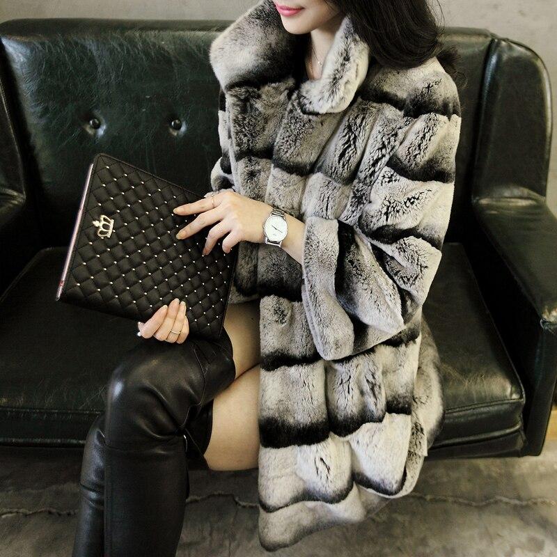 2015 femmes de réel chinchilla teints rex lapin manteau de fourrure