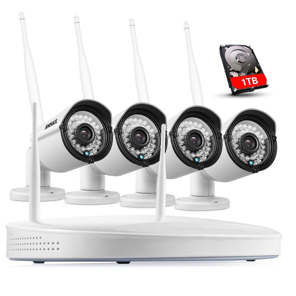 ANNKE Plug Play Wireless 4CH CCTV Camera System P2P Wireless NVR IP Camera 960P Outdoor Bullet