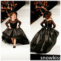 Lovely black little girls high low sheer long sleeves ball gowns with button attractive kids prom evening dresses with train
