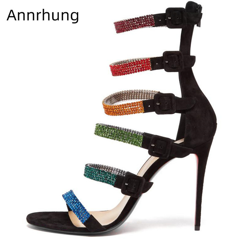 Arc-en-ciel strass bande étroite talons hauts sandales femmes Sexy boucle sangles bout ouvert daim talons mode Catwalk chaussures Sandalias