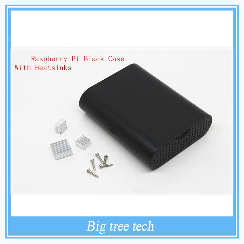 Raspberry Pi 3 Raspberry Pi Model B+ B Plus &Raspberry Pi 2 Black Case Cover Shell Enclosure Box ABS box + One set heatsink