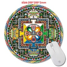 Wholesale Customized Designed Mouse Pad With Mandala Sample Trend Design Round Mousepad With Rubber 20cm by Mouse Pads