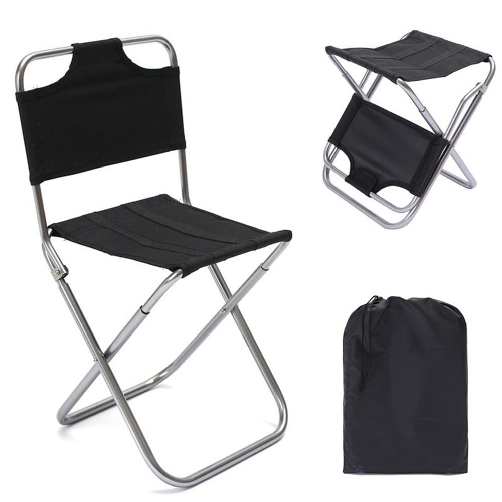 Black Outdoor Chairs for Kids Adults Foldable Camping Picnic Chairs Fishing Stool Protable Outdoor Furniture Ultralight Seat