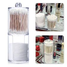 New 6.8x17cm Transparent Dual Layer Cylinder Acrylic Cotton Storage Bottles Makeup Nail Remover Container Hold Jars