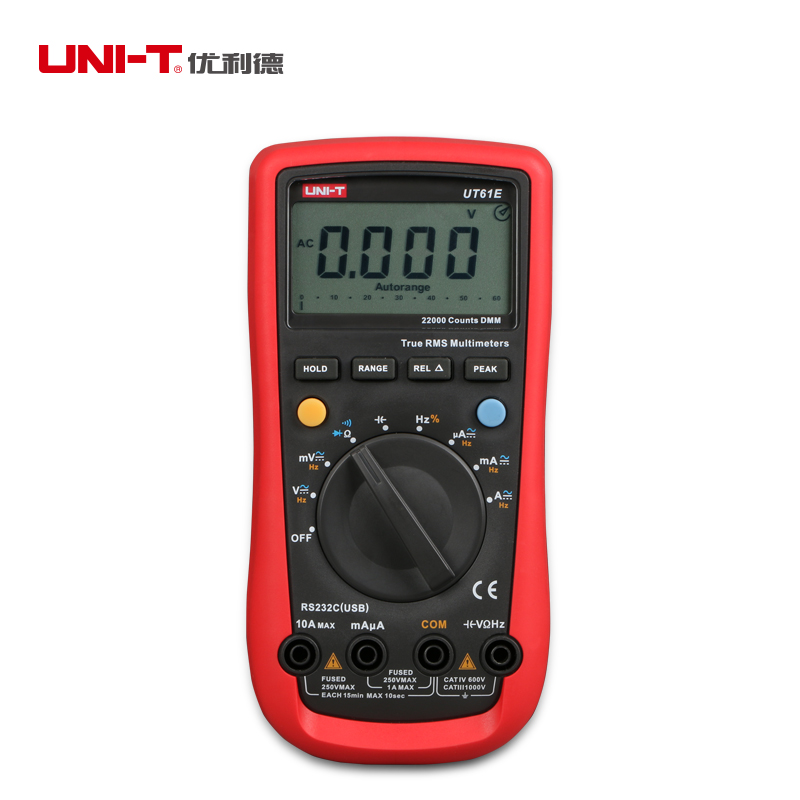 UNI-T UT61E LCD Digital Multimeter Ammeter Voltmeter Capacitance Frequency Tester True RMS 220000 Count  Test Lead Auto Range uni t ut70b lcd digital multimeter auto range frequency conductance logic test transistor temperature analog display