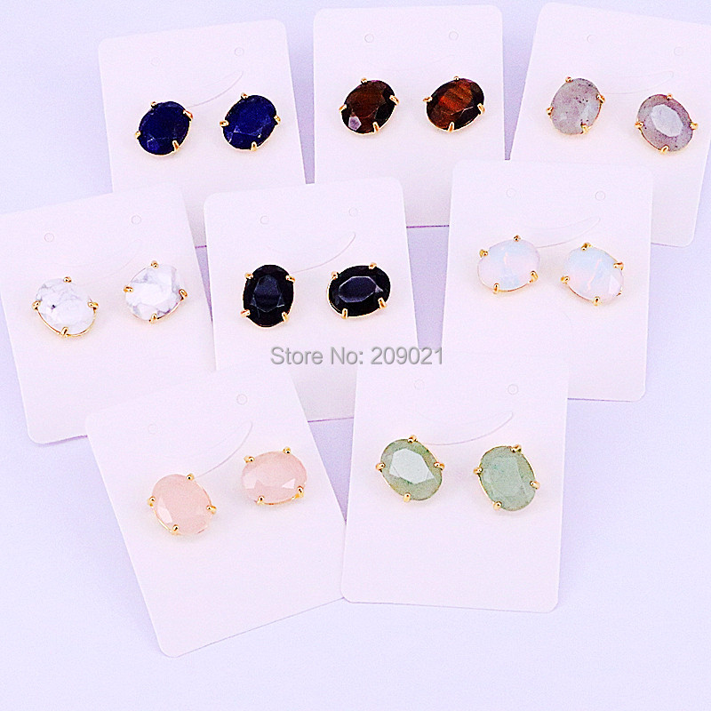 10pair Nature stone Jewelry Oval Earrings, Mix Color Faceted Quartz Stone Stud Earrings For Women Jewelry