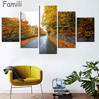 5 Pieces Set Highway Sunset HD Wall Art Print On Canvas For Home Decoration Wall Art