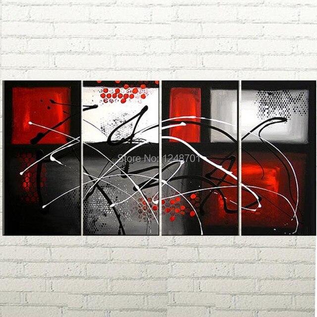Peint à La Main 4 Pièces Groupe Moderne Peinture Abstraite Rouge