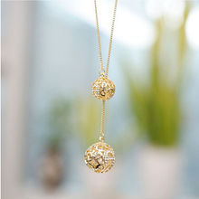 Hot Sale Classic Crystal Two Ball Long Chain Necklace