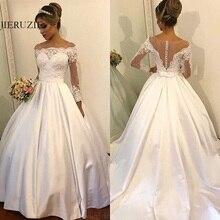 JIERUIZE فساتين زفاف من الساتان الأبيض مزينة بالدانتيل أزرار فساتين زفاف رخيصة بأكمام طويلة فساتين العروس رداء السهرة