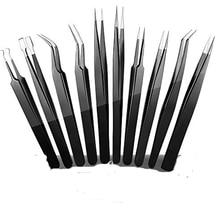 Precision Tweezers Set, ElleSye 10 PCS ESD Tweezer Set, Anti-Static Stainless Steel Tweezers Non-magnetic Tweezer Set for Craft,