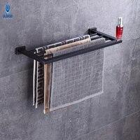 Ulgksd Light luxury Bathroom Accessories Copper Bath Towel Shelves Oil Rubbed Bronze Wall Mounted Towel Holders