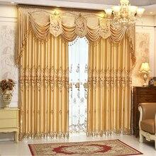 Prontas cortinas de luxo bordado set (saia + sheer cortina), # LR-Xiangyufuhua terminou cortinas cortinas para sala de estar