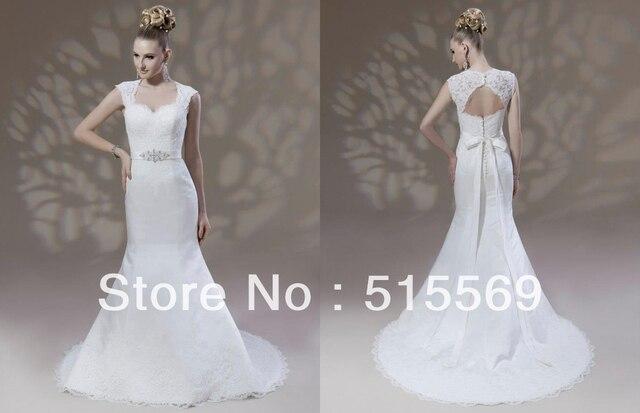 Simple Elegant Mermaid Panel Train Sweetheart Cap Sleeves Unique Designer Keyhole Back Wedding Dresses
