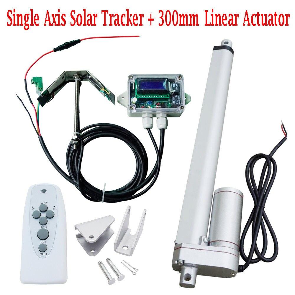 1 KW-12 V Tracker solaire à axe unique-Kit système 12 ''actionneur linéaire + contrôleur