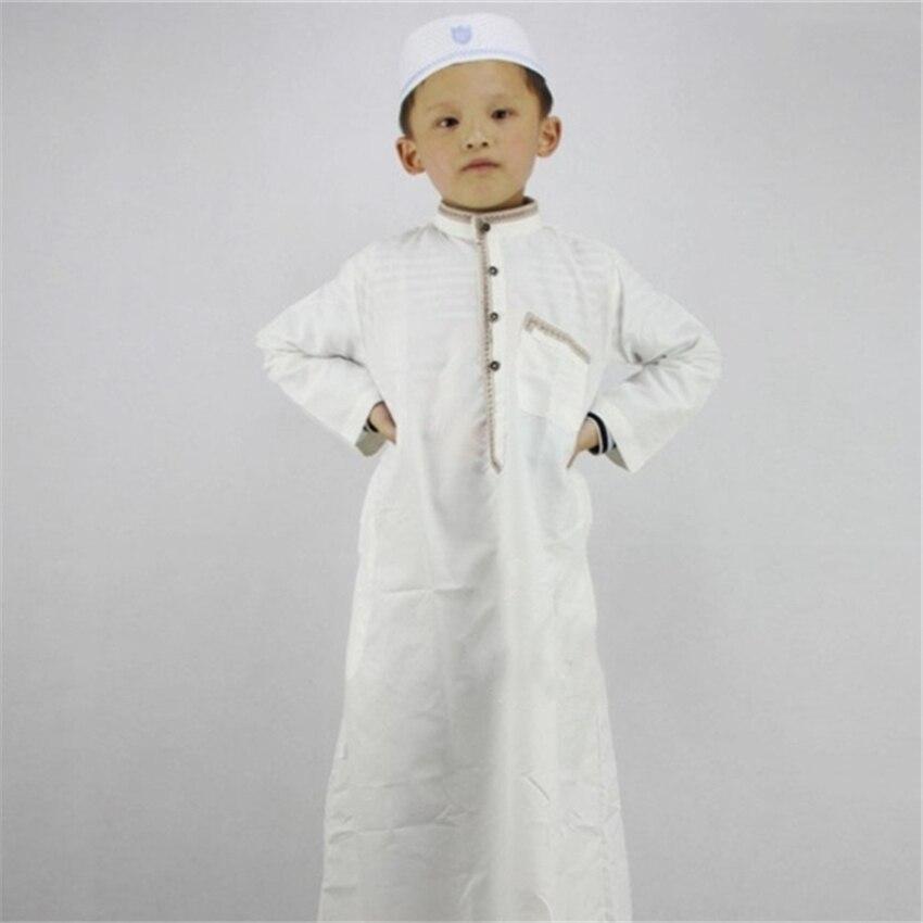 Muslim Boys Islamic Clothing Arab Dubai Turkey Malaysia Kaftan Muslim Abaya Children Islam Prayer Eid Long Clothes for Boy Thobe