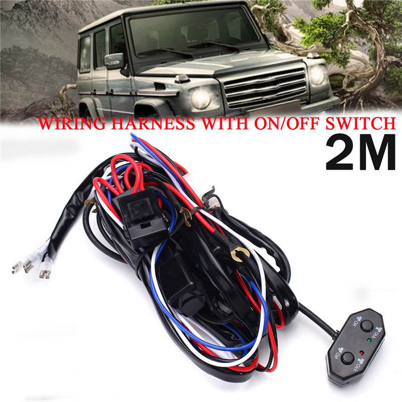 2M Wiring Harness With ON/OFF Switch Car Auto Automotive Relay Kit 40A 12V For LED Work Light Bar Off Road Driving Lamp