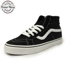 New High Quality Men Black Canvas Shoes Fashion High Top Men's Casual Shoes Lovers Breathable Canvas Skate Shoes 35-44