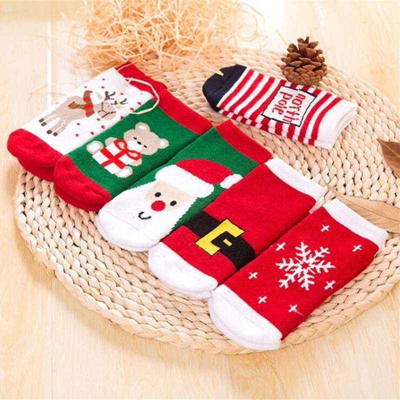 1 Pair Cotton Spring Winter Autumn Baby Girls Boys Kids Socks Children Striped Terry Snowflake Elk Santa Claus Christmas Bear