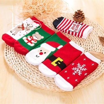 1 Pair Cotton Spring Winter Autumn Baby Girls Boys Kids Socks Children Striped Terry Snowflake Elk Santa Claus Christmas Bear