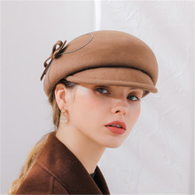 LEAYH Autumn and Winter Fedoras New Visors Hats Women's Australian Wool Felt Newsboy Hat Fashion Apparel Accessories
