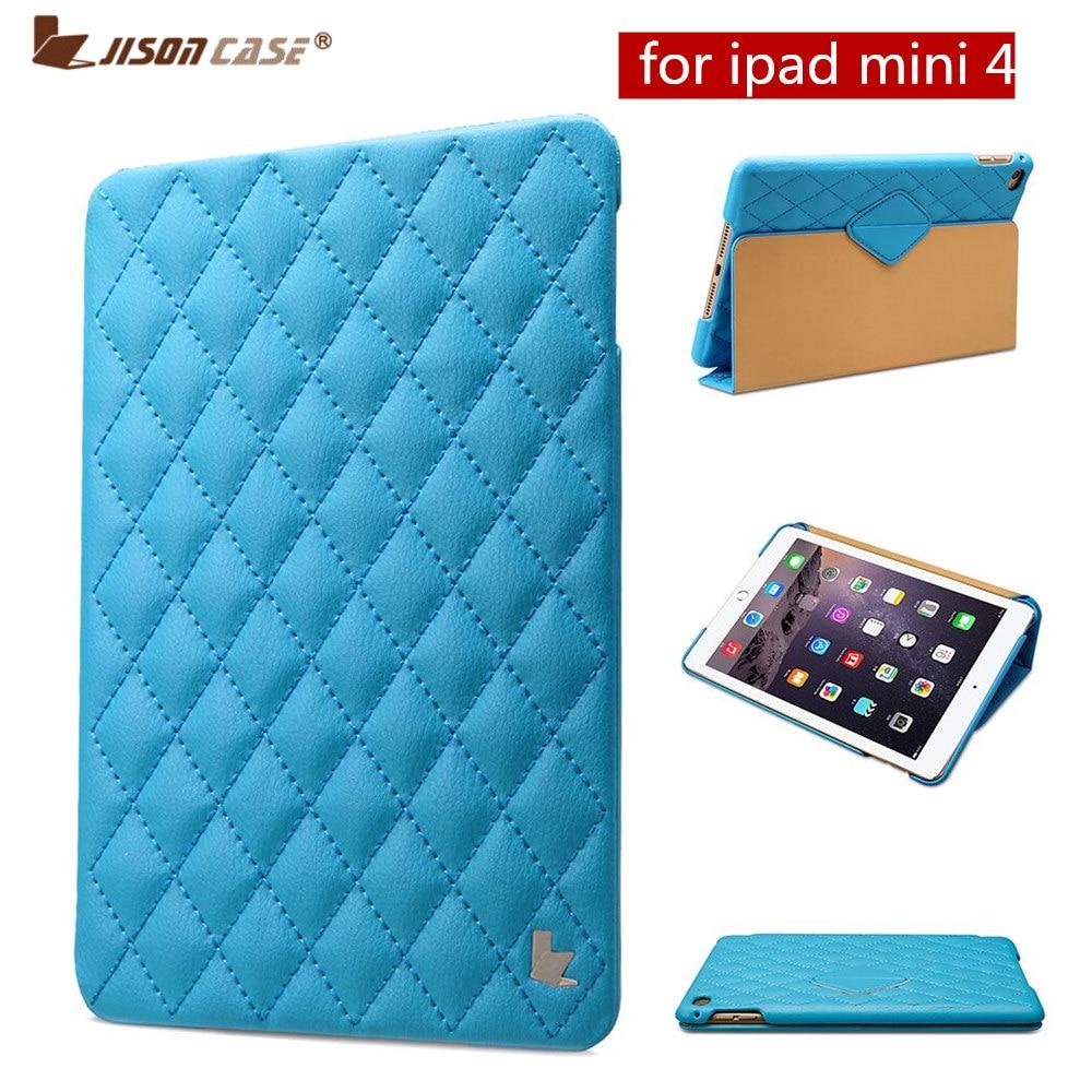 Gorchudd Smart Moethus Jisoncase ar gyfer iPad mini 4 Cwtiau Cwpan Rhwygo Magnetig Cwtogi Rhombus Lledr ar gyfer iPad mini 4 Fundas