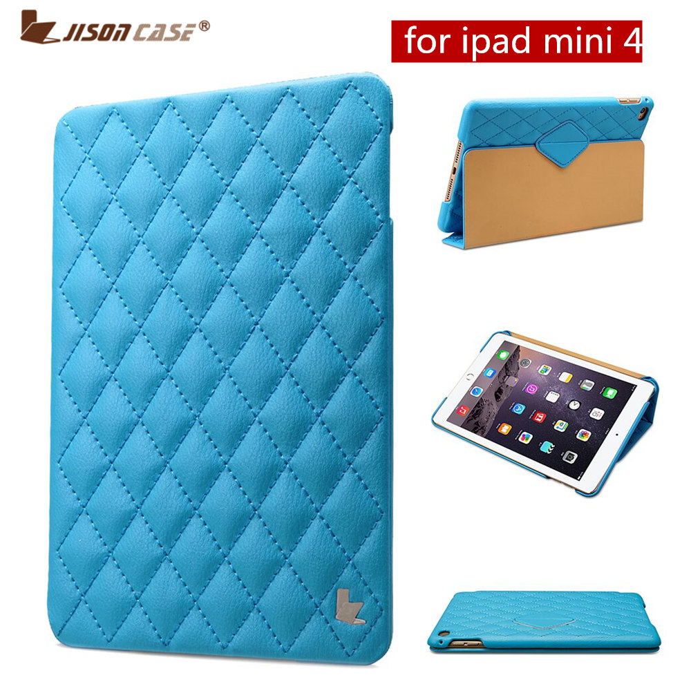 d031079495d Jisoncase cubierta elegante de lujo para iPad mini 4 acolchado Rhombus  cuero magnético Kickstand Flip fundas para iPad mini 4 fundas en Tabletas y  e-books ...
