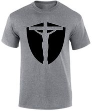 Jesus Shield Badge Religious Gospel Slogan Evangelism Christian Men T-shirt New T Shirts Funny Tops Tee free shipping