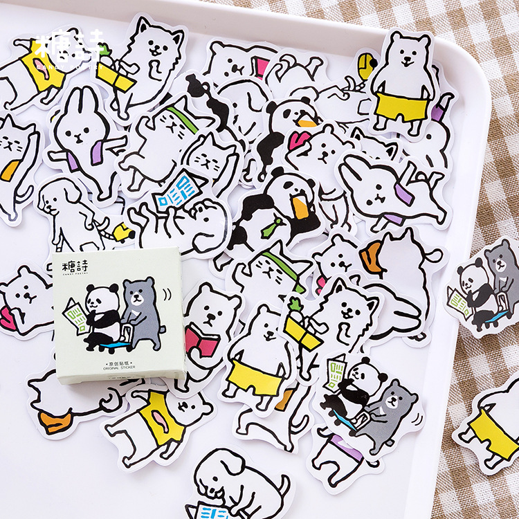 Animal Daily Dog Bear Bullet Journal Decorative Stickers Adhesive Stationery Stickers DIY Decoration Diary Stickers Box Package
