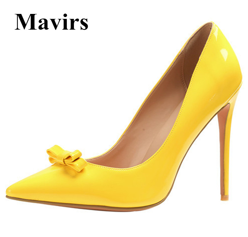 MAVIRS Brand Women Pumps 2018 Spring Bow-knot 12CM Yellow Nude High Heels Pointed Toe Stiletto Party Wedding Shoes US Size 5-15 high quality suede wedding party dress shoes women pointed toe stiletto brand pumps bow fringe embellished high brands
