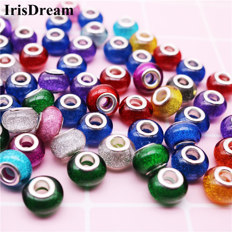 10Pcs/Lot Mixed Color Round Loose Gold Powder Plastic Resin Murano Beads Charms Fit DIY Pandora Bracelet For DIY Jewelry Making