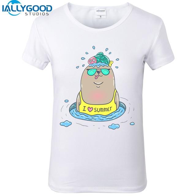 Beau 2017 New Fashion I LOVE Summer Cartoon Seal Women T Shirts Cute White Tops  Loose Soft