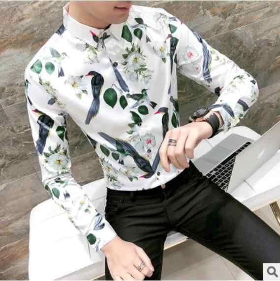Мужская одежда с принтом рубашки с длинными рукавами 2018 Новая Осенняя мужская черно-белая свадебная деловая Вечеринка мужские рубашки для выпускного вечера Размер 3XL