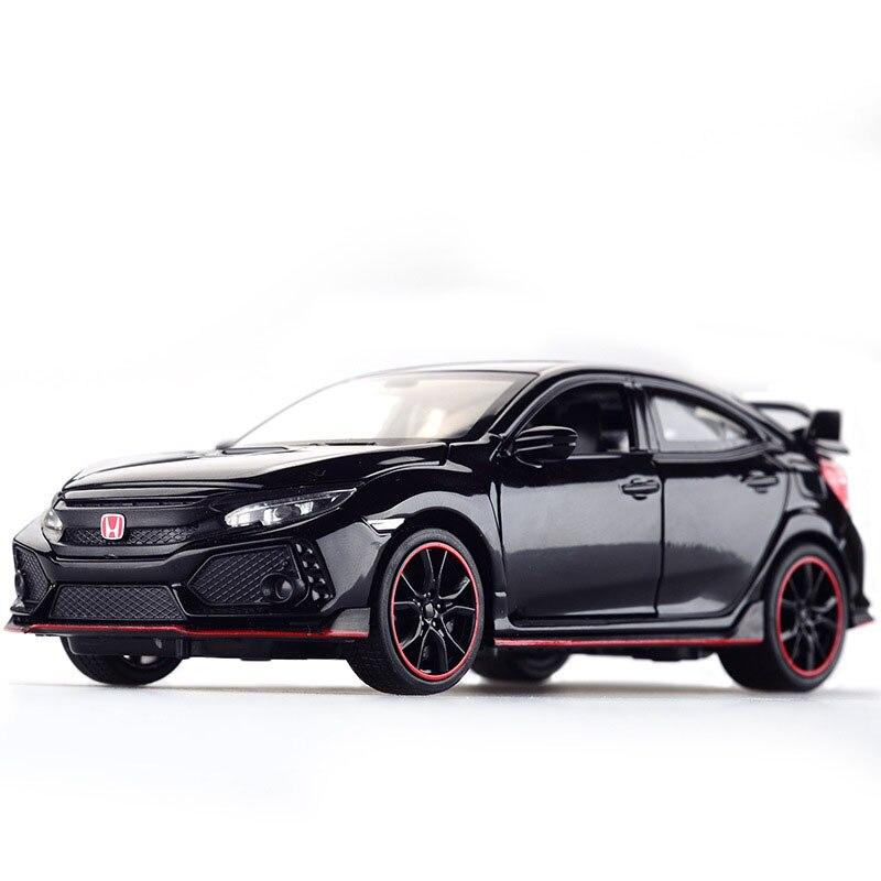 Diecast modelo carro honda civic tipo r 1/32 liga de metal simulação puxar para trás carros luzes brinquedos veículos para crianças presentes