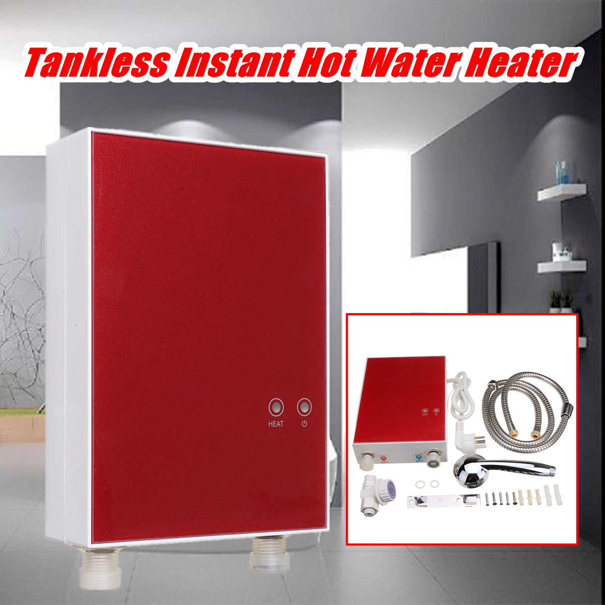 Home Instant Heat Electric Water Heater Kitchen Tankless Boiler System 220V  3500W LCD Digital Under Sink Electricity Saving