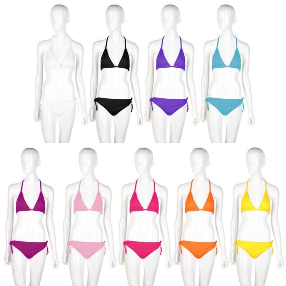 Бикини 2018, женский сексуальный комплект бикини, для девушек, низкая талия, пляж, пуш-ап, бюстгальтер, купальник для девушек, бандаж, Холтер, купальник, бразильское бикини