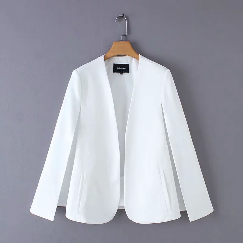 Split Design Women Cloak Suit Coat Casual Lady Black And White Jacket Fashion Streetwear Loose Outerwear Tops C613