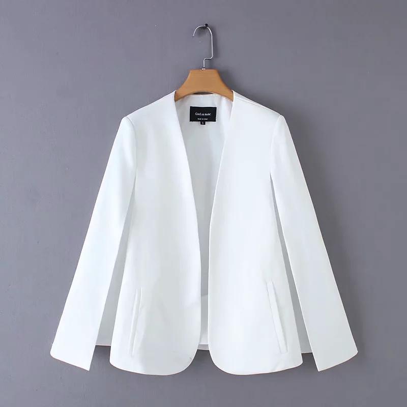 split design women cloak suit coat casual lady black and white jacket fashion streetwear loose outerwear tops C613