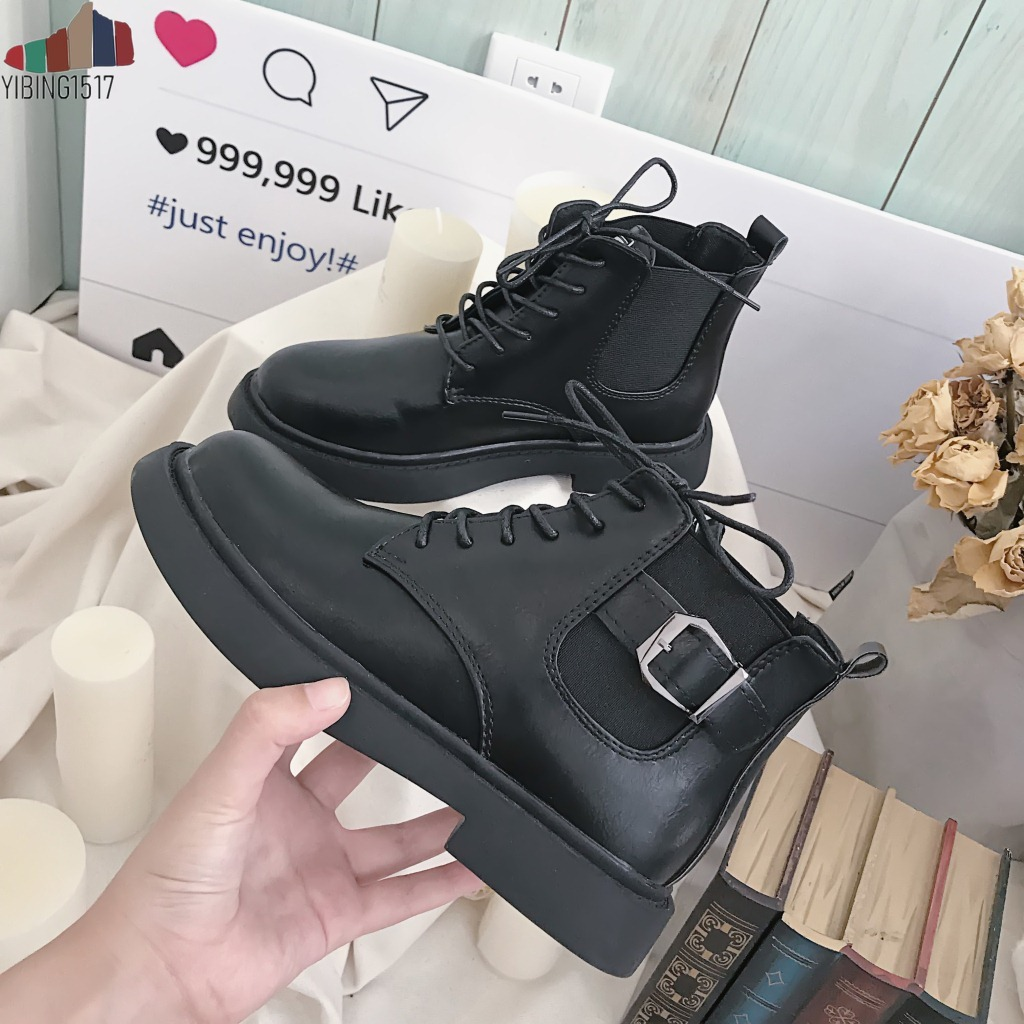 YIBING1517 New Arrival Autumn Winter Ankle Boots Women Buckle Decoration 3.5cm Med Chunky Heels Boots Female Botas Mujer zapatillas de moda 2019 hombre