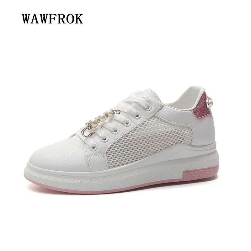 Women Sneakers 2018 Summer Women Casual Shoes Fashion Breathable Mesh Flats Platform Pearl Metal Buckle White Women Shoes