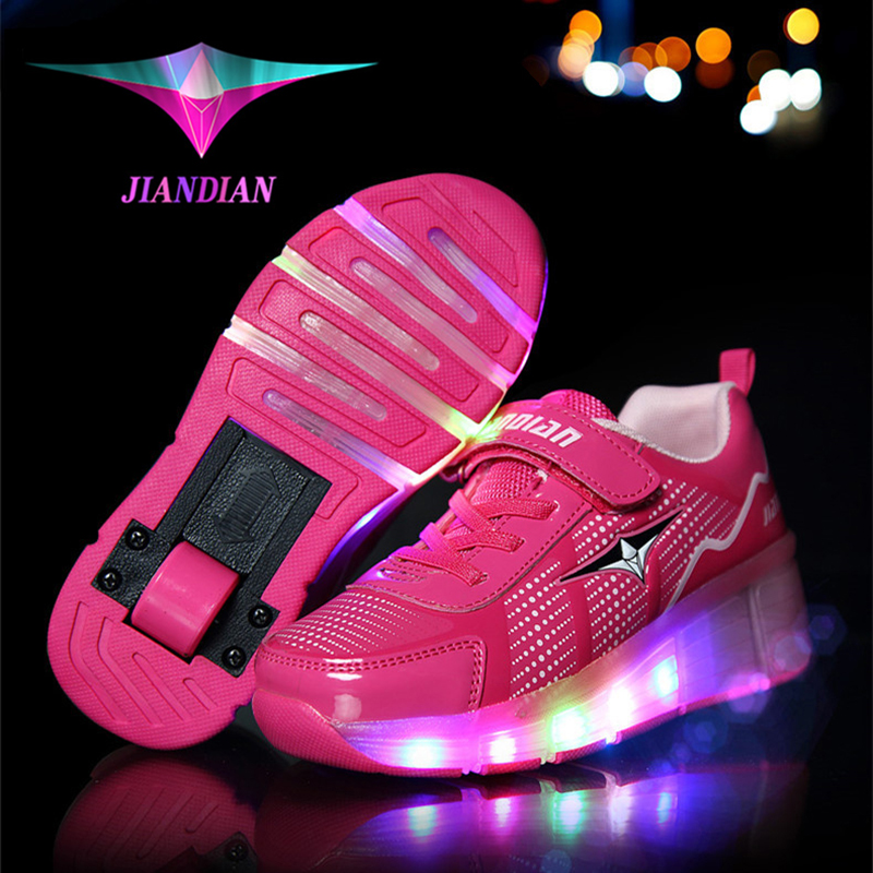 Fashion Eu Size 28-43 Baby Girl & Boy LED Roller Shoes Children Outdoor Skate Sneakers With Wheels Kids Birthday Best Gifts children roller sneaker with one wheel led lighted flashing roller skates kids boy girl shoes zapatillas con ruedas