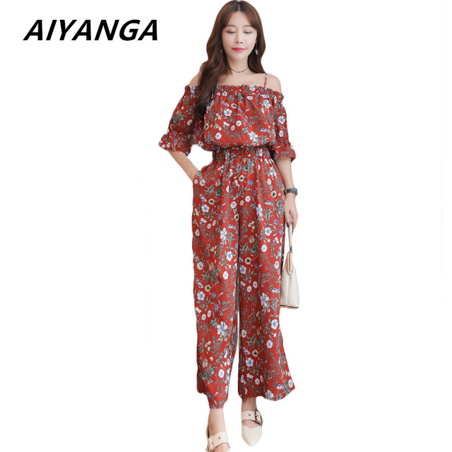 987531558db 2018 Summer Chiffon Jumpsuits New Plus Size M-5XL Women s Korean Style  Slash Neck Elastic Waist Floral Wide Leg Jumpsuit Sexy