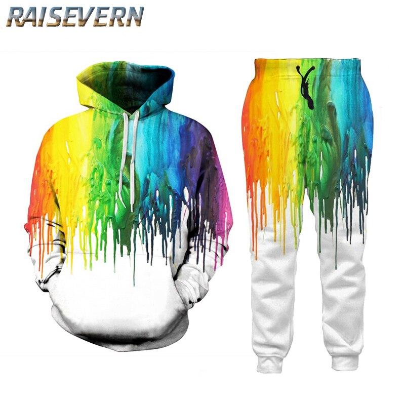 RAISEVERN Casual Suit Men 3D Oil Painting Tie Dye  Hoodie Tracksuit Male Fitness Body Building Men Hoodies+Pants Joggers Men Set