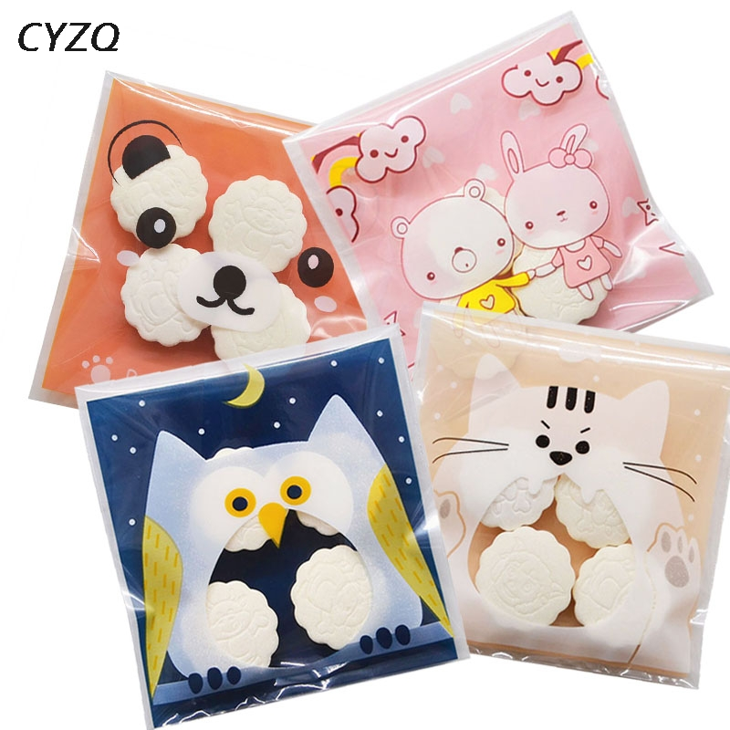 50/100pcs Cute Cartoon Gifts Bags Christmas Cookie Packaging Self-adhesive Plastic Bags For Biscuits Candy Food Cake Package(China)