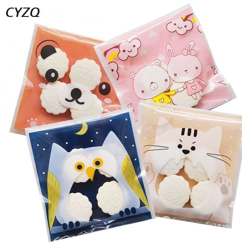 50/100pcs Cute Cartoon Gifts Bags Christmas Cookie Packaging Self-adhesive Plastic Bags For Biscuits Candy Food Cake Package
